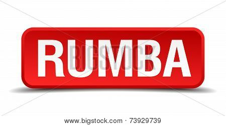 Rumba Red 3D Square Button Isolated On White