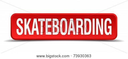 Skateboarding Red 3D Square Button Isolated On White