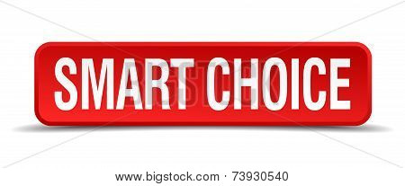 Smart Choice Red 3D Square Button Isolated On White