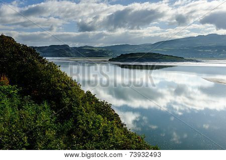 View across the estuary at Portmeirion of the river Dwyryd