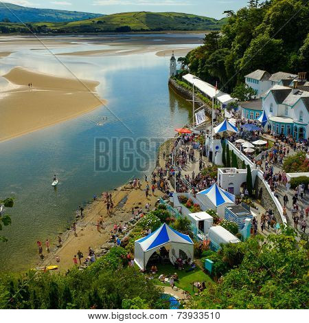 Portmeirion, beach, river and Hotel Portmeirion