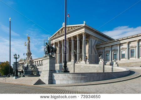 Vienna - OCTOBER 13: Austrian Parliament on October 13 in Vienna, Austria. Austrian Parliament building is one of the most popular tourist attractions in Vienna