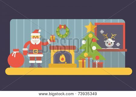 New Year Room Santa Claus with Gift Box and Bag Christmas Accessories Icons Trendy Modern Flat Desig