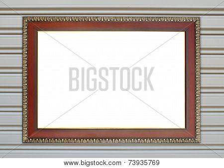 Wood Frame On Metall Door Texture Background