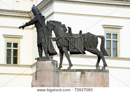 Sculpture Of Grand Duke Gediminas With Horse In Vilnius City