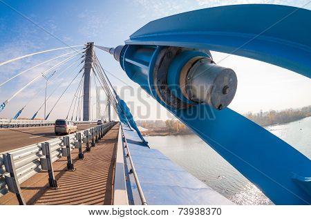 Samara, Russia - October 5, 2014: Kirovsky Cable Bridge Across The Samara River In Kirovsky District