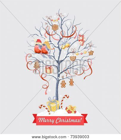 Greeting card with Christmas tree, bullfinches, holidays symbols and greeting inscription.