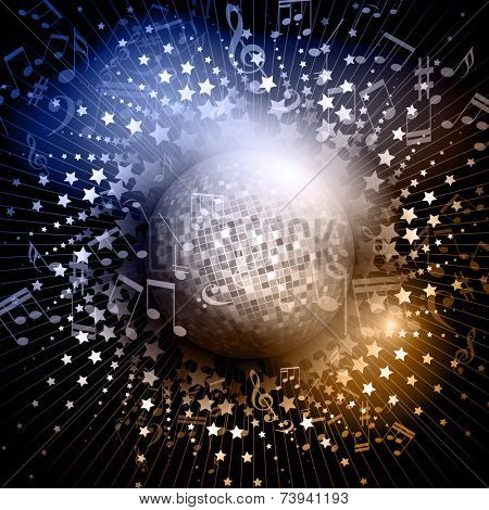 Abstract background with mirror ball and music notes