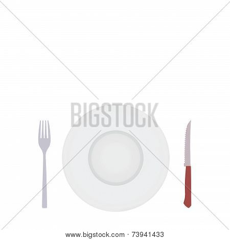 White Blank Plate With Silver Fork And Knife