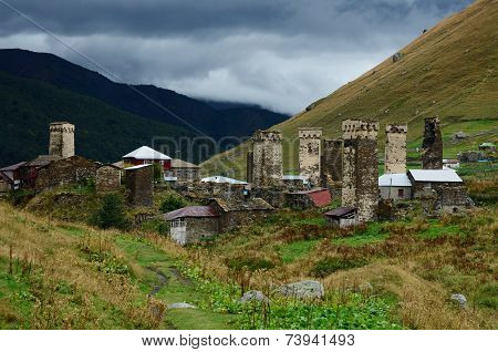 Fortified Medieval Towers Of Ushguli - Caucasus Mountain Village In Svanetia In Overcast Day,Georgia
