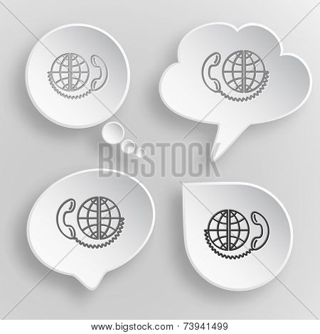 Global communication. White flat vector buttons on gray background.