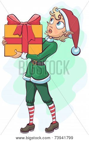 Christmas elf delivers a box with a gift
