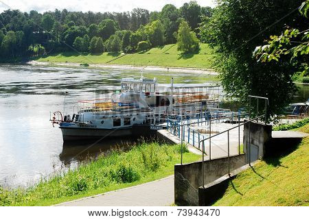Ship In The Nemunas River Druskininkai City Pier