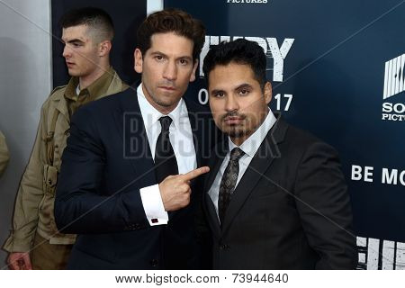 NEW YORK-OCT 15: Actors Jon Bernthal (L) and Michael Pena attend the world premiere of