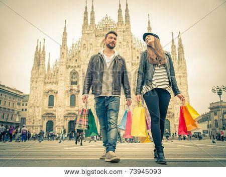 Couple Shopping In Milan