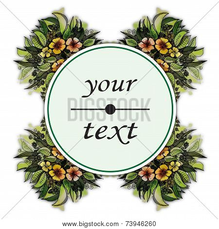 beautiful floral label round shape
