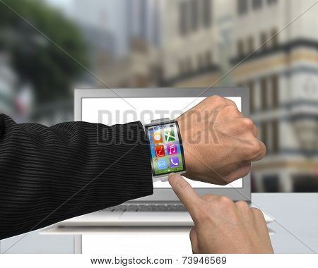 Businessman Hand Wearing Smartwatch With Bent Interface