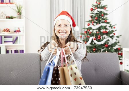 Young Girl Is Give Somebody Presents Bags