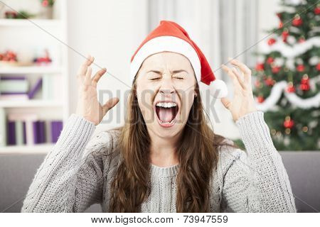 Young Girl Shout Because Of Christmas Stress