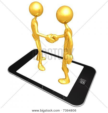 Gold Guys With Touch Screen Mobile Device