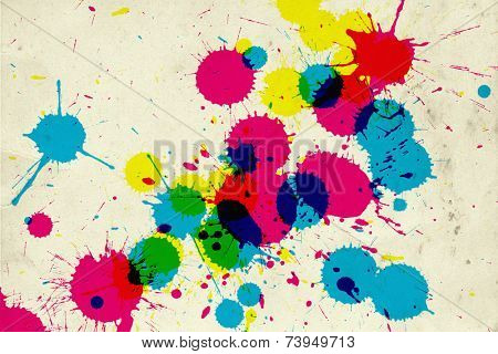 Colorful ink drips on retro background