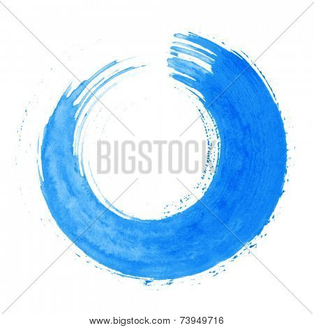 Round blue brush stroke