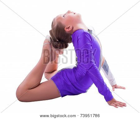 Girl Gymnast Doing Exercise