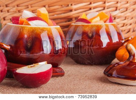 Clay Pots With Sweet Fruts For Vegetarian Dish