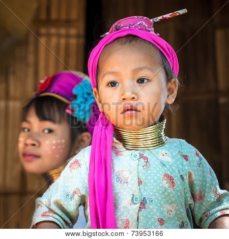 Karen Long Neck Woman With Brass Coils. Thailand