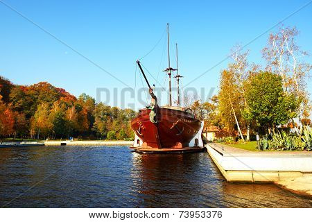 Novi Petrivtsi, Ukraine - October 14: The Galleon Ship-restaurant In  Mezhigirya On October 14, 2014