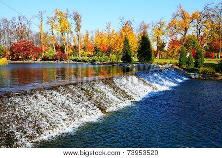 Novi Petrivtsi, Ukraine - October 14: The Waterfall In Mezhigirya On October 14, 2014 In Novi Petriv