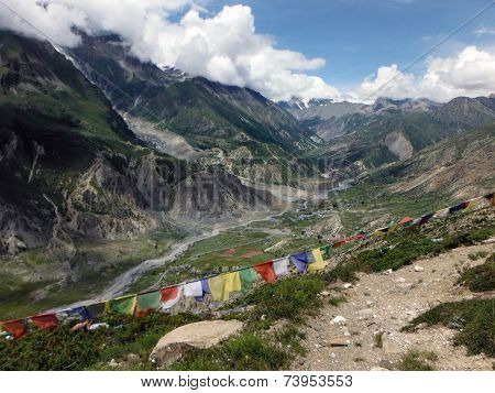 Prayer Flags In Himalayan Valley