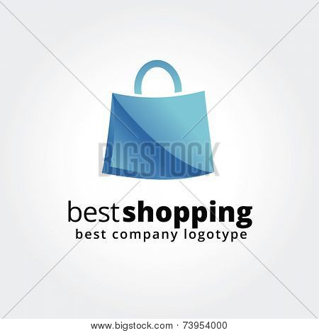 Abstract shopping logo icon concept isolated on white background for business design. Key ideas is shopping, sales, bag, pack, design. Concept for corporate identity and branding. Stock vector.