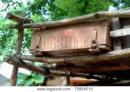 vintage suitcase on the roof in the jungle