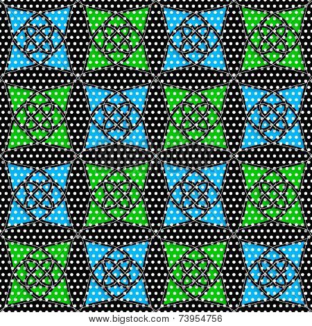 Geometrical Arabian Ornament With Doted Texture And Blue Green