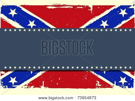 detailed illustration of a patriotic confederate flag on a grungy background, eps 10 vector