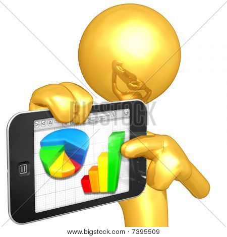 Gold Guy With Touch Screen Mobile Device Business Report