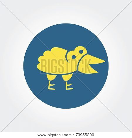 Abstract gift yellow raven with gift logo icon concept isolated on white background for business design. Key ideas is children, yellow, raven, toys, design. Concept for corporate identity and branding