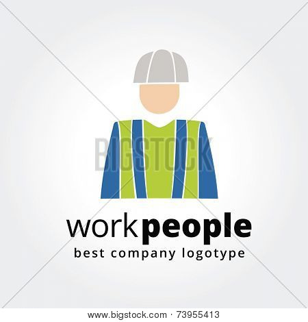 Abstract worker logo icon concept isolated on white background for business design. Key ideas is business, hard work, people in profession, corporate, design. Concept for corporate identity and