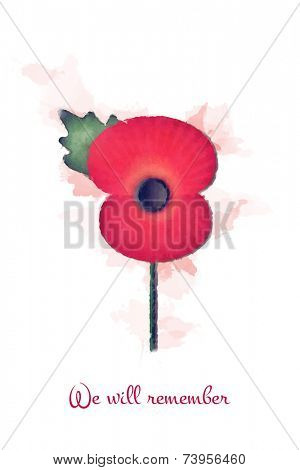 Faded watercolour remembrance poppy, with the slogan: we will remember. EPS10 vector format.