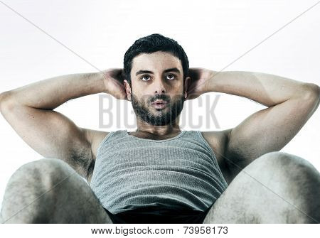 Attractive Latin Sport Man Wearing Running Clothes Doing Sit Up
