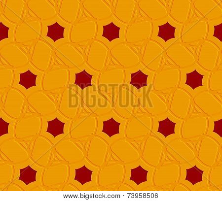 Orange Embossed Ornament With Red Hexagons