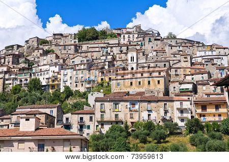 Panoramic view of Padula. Campania. Southern Italy.