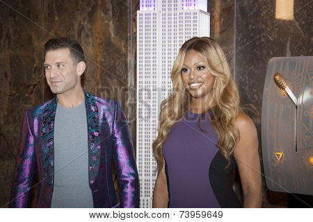 NEW YORK - OCT 16, 2014: Omar Sharif Jr, National Spokesperson from GLADD, and Laverne Cox, actress in 'Orange Is The New Black' at the ceremony to light the Empire State Building purple.