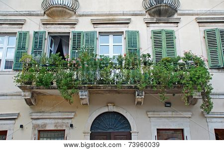 Beautiful Shatter Windows And Balcony In Mediterranean Medieval House (Kotor, Montenegro)