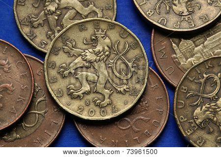 Coins of the Czech Republic. Bohemian heraldic lion depicted in Czech twenty korunas coins.