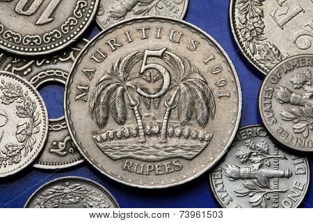Coins of Mauritius. Two palm trees depicted in the Mauritian five rupee coin.