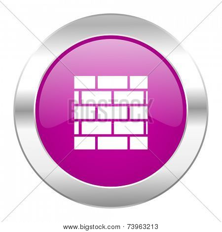 firewall violet circle chrome web icon isolated