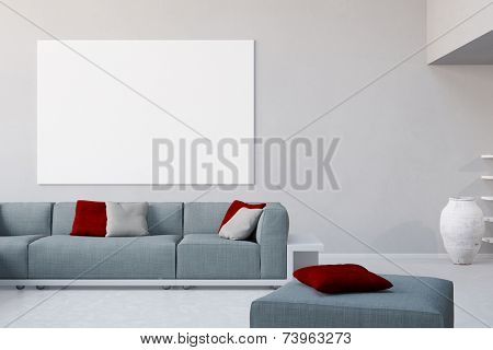 3D Illustration White canvas on wall in living room over the sofa in a loft