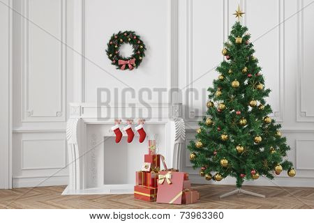 3D Illustration Christmas tree with gifts near a fireplace in an elegant room